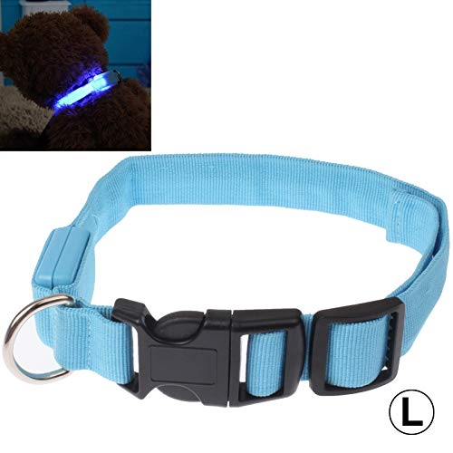 Ysswjzz Hondenhalsband, Zacht En Comfortabel Verstelbare LED-halsband Met 3 Standen Effen Kleurpatroon for Middelgrote Honden-L