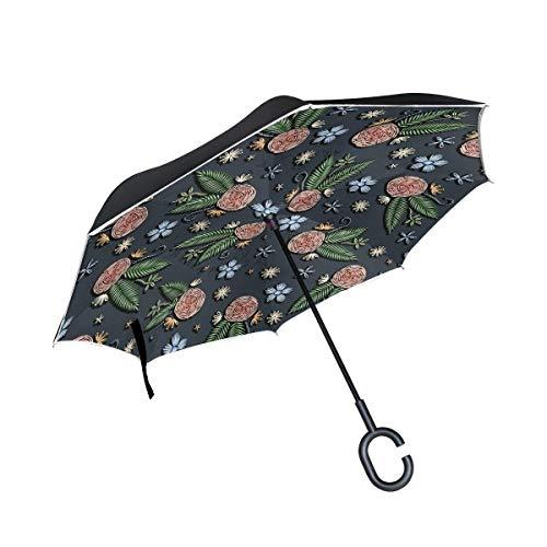 Rode dames-paraplu, omgekeerd, bloemenpatroon, dubbel, omgekeerd, met greep in C-vorm voor regen, winddicht