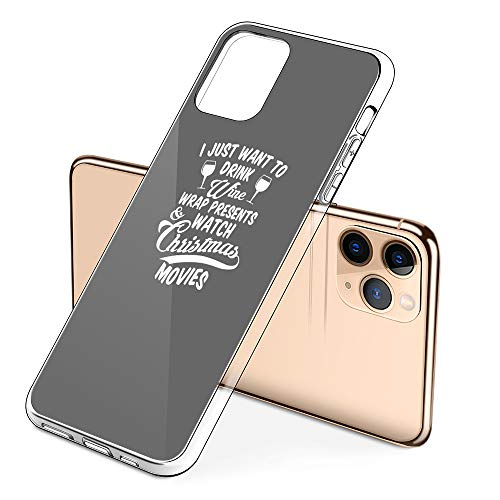 Premium iPhone 11 Phone Cases with Drink Wine Watch Christmas Movies Design on Protective PC Hard Back, The Best Essential Accessories
