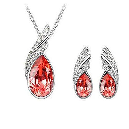GYJUN Bijoux Collier Boucles d'Oreille Cristal Soirée Cristal 1set Femme , red