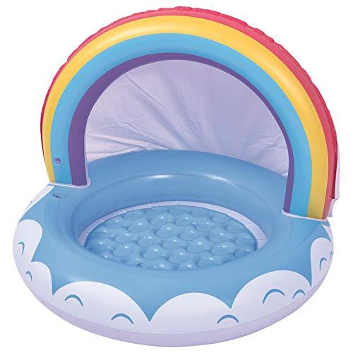 YJYQ Flotador Hinchable para Bebé,Piscina para Bebés,Flotador para Bebé Piscina Barca Niños De Piscina con Asiento Toldo,Fácil De Usar