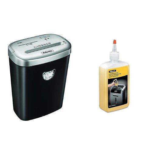 Fellowes - Pack destructora trituradora de papel, 10 hojas + Aceite lubricant para destructoras trituradoras, 350 ml