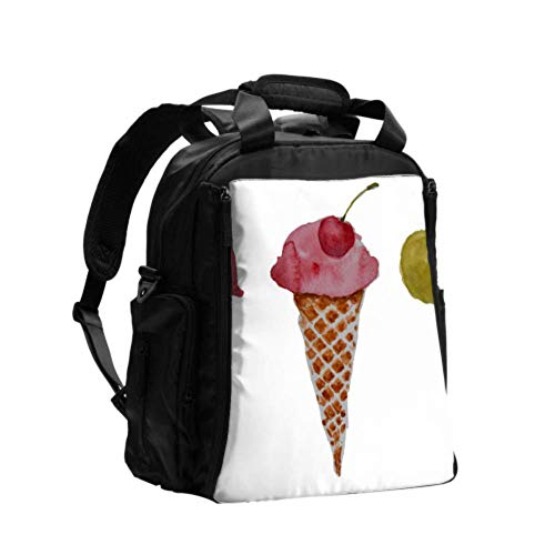 Ausgefallene Wickeltasche Rucksack Karton Eistüten Windeltasche Wickeltasche Multifunktions-Reiserucksack mit Wickelunterlage für die Babypflege