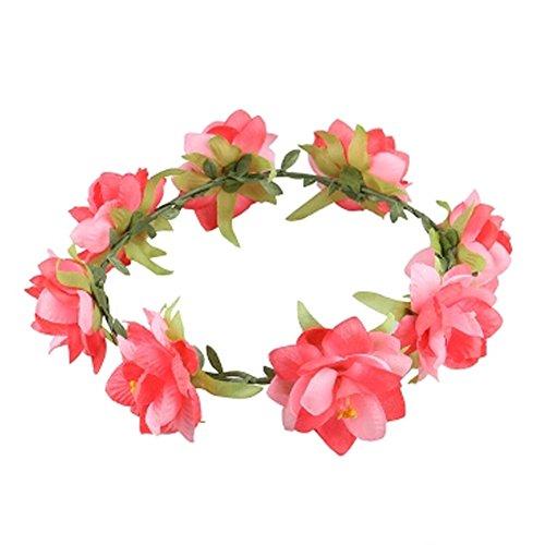 Damen Handwerk Meer Blumen Kranz Haar Crown Kopfbedeckung , Rot