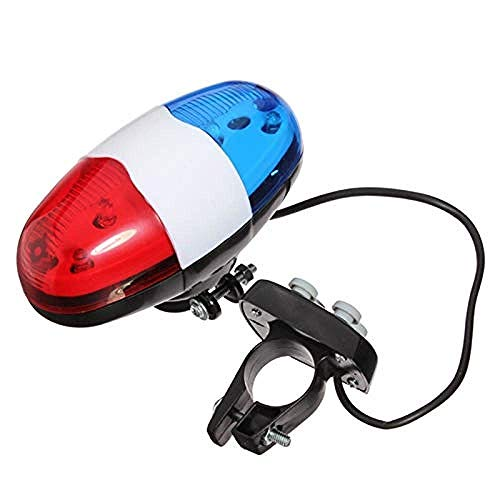 Versión actualizada Juego de luces para bicicleta, luces para bicicleta, 6 luces LED intermitentes, 4 sonidos, sirena de policía, trompeta, bocina, campana, luz trasera para luz trasera, MTB, bicicle