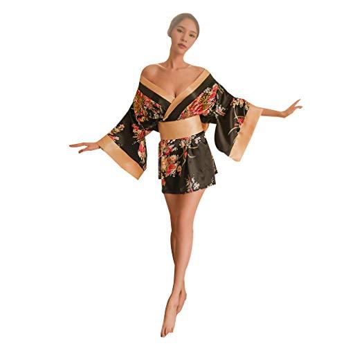 Busirde Corte de la Ropa Interior Atractiva del Kimono japonés de la pasión de Cospaly pasión Uniforme Suministros Mujer Albornoz Negro Free Size