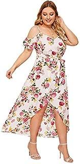 Milumia Women Plus Size Floral Cold Shoulder Wedding Guest Maxi Dress White 1X
