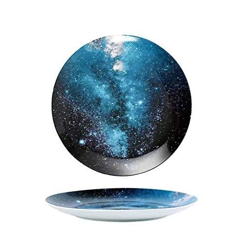 GZDD Vajillas de cerámica Estilo Cielo Nocturno 2 Piezas,Platos de Color para Aperitivos/Sushi/Postre 20,5cm,Apto para lavavajillas y microondas, sky2