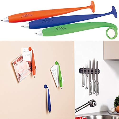 General Office Bürobedarf: 3er-Set Kugelschreiber mit Silikonhülle und Magnet (Kugelschreiber mit Magnethalter)