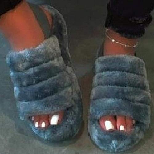 LANKOULI Plüsch Sandalen Herbst Hausschuhe getragen Damenschuhe einfarbige Wolle Gummisandalen flachen Boden Wort Drag Tide-grau_38