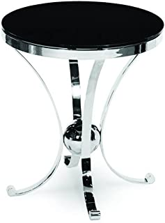 Michael Amini Accent Round Glass Table, Stainless Steel/Black