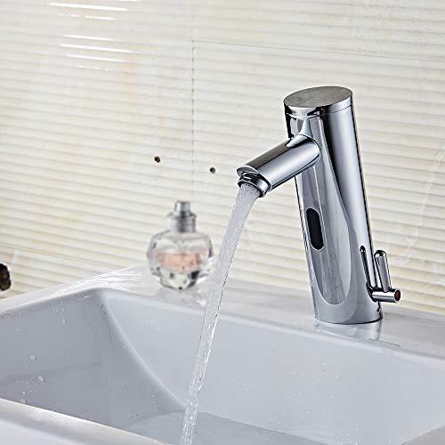 Grifo de Sensor, Cromado, Sensor de Infrarrojos Grifo automático Inducción baño Grifo Agua Ahorrar Diámetro del Tubo 1/2 para Agua fría y Caliente, Mezclador de Lavabo para baño