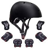 GLAF ヘルメット こども用 キッズ プロテクター セット 自転車 ヘルメット3-8歳 幼児 頭囲48~54cm 子供用 保護具 超高耐衝撃性 耐久性 軽量 サイクリング スケートボード ローラースケート (ブラック, S(48CM~54CM))
