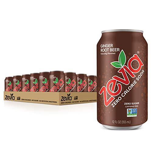 Zevia Zero Calorie Soda, Ginger Root Beer, 12 Ounce Cans (Pack of 24)