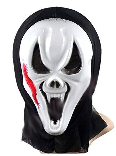Lovelegis Schrei-Maske mit Schnitt - für Kostüm - Verkleidung - Karneval - Halloween - Monster - Mörder - weiße Farbe - Erwachsene - Frau - Mann - Jungen - Geschenkidee für Weihnachten und Geburtstag