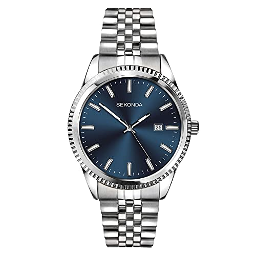 Sekonda Reloj clásico de cuarzo con esfera azul de acero inoxidable para hombre 1640