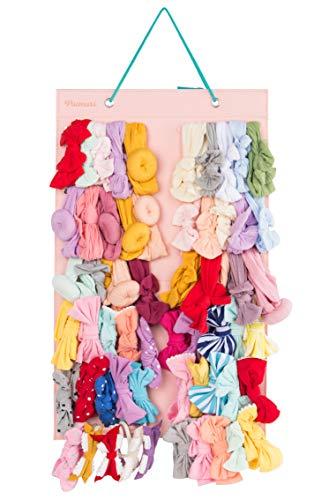 Hanging Baby Girl Headbands Storage Organizer, Newborn Headbands and Bows Holder(Large 12 Snap Band,Pink+Green)