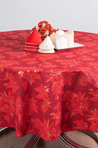Tafelkleed Confestyl - rood - beige - rechthoekig - vierkant - rond - ovaal - stof bedrukt van puur katoen - glitter - Made in Italy - Felicita