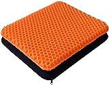 Cojín de gel de doble capa grueso, alivia el dolor de espalda y ciática, cojín de asiento de coche, oficina, silla de ruedas y silla, diseño transpirable, duradero, portátil (naranja)