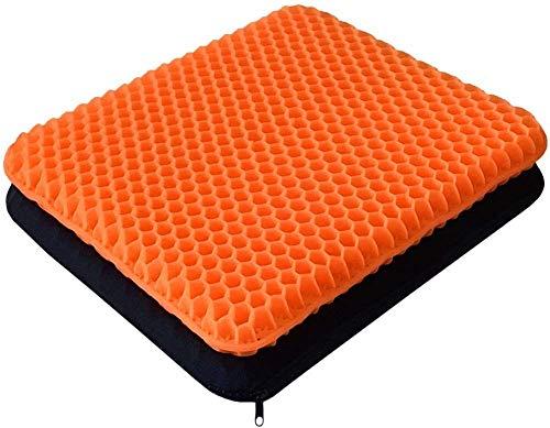 Gelkissen, zweilagiges Dickes Kissen, lindern Rückenschmerzen und Ischias, Autositzkissen, Büro, Rollstuhl und Stuhl, atmungsaktives Design, langlebig, tragbar (Orange)