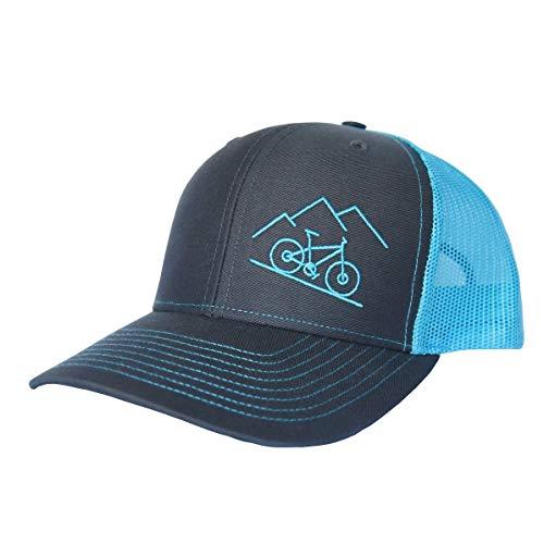 ThreadBound Outdoor Trucker Hat Snapback - Mountain Bike Design, Granite/Neon Blue