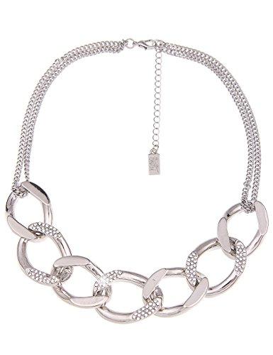 Leslii Damen-Kette Glitzer Glieder-Kette Strass-Collier Statement-Kette kurze Halskette silberne Modeschmuck-Kette Silber