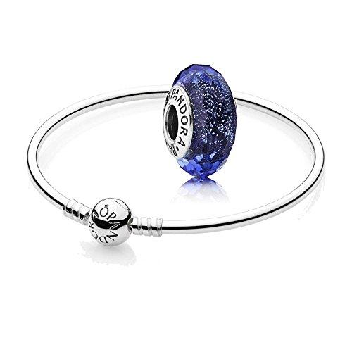 Pandora Original Geschenkset - 1 Silber Armreif 590713-17 + 1 Silber Charm 791646 Schillernd-Blaue Facetten