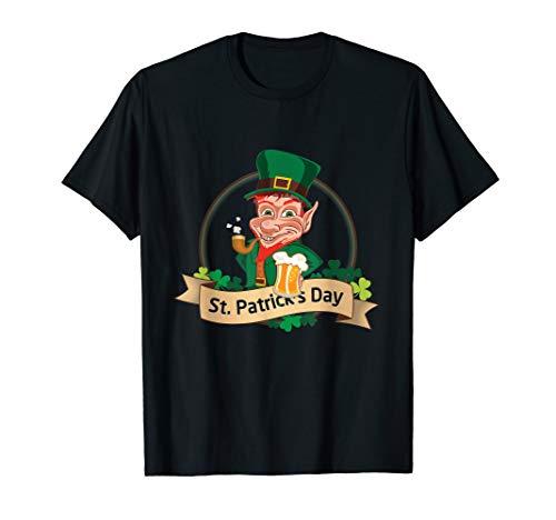 St Particks Day Kobold Bier Pfeife Leprechaun Irland Grün T-Shirt