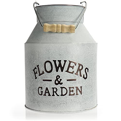 com-four® Vaso da Fiori in Metallo - bricco da Latte per Piante - Vaso da Fiori Vintage - Vaso Decorativo per Stare in Piedi e Appendere (Lattina - 1 Pezzo)