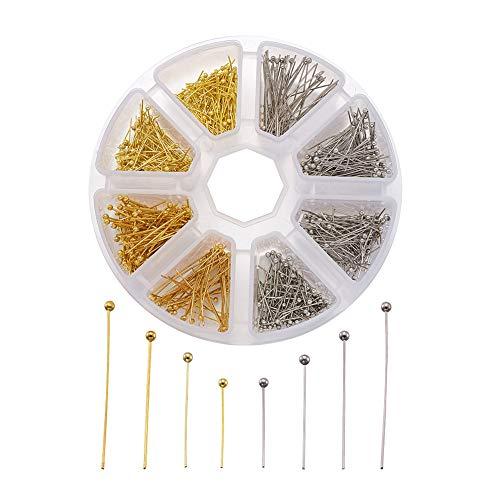 Craftdady 700 pines de cabeza de bola de latón de 16 mm, 20 mm, 25 mm, 30 mm, Platino y dorado