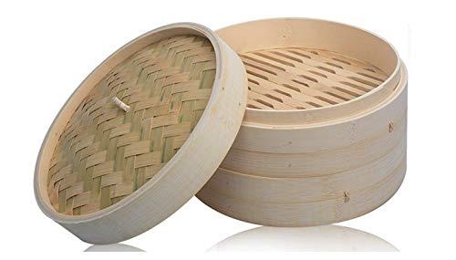 LEYENDAS Vaporera de bambú para cocinar al Vapor, cocedor con Tapa, Cesta de bambú, Recipiente de bambú, Oriental, cocer al Vapor (25x10 cm)