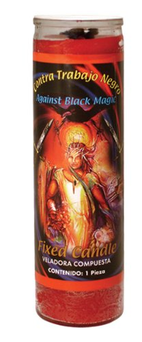 MAGIE/MYSTIK/KOMPLETTES RITUAL: Magische Kerze aus Glas AGAINST BLACK MAGIC (Gegen schwarze Magie) mit Amulett, Anleitung und Zeitpunktangaben