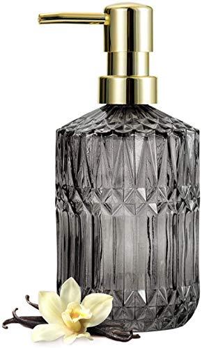EMPO Seifenspender aus transparentem Glas mit ABS-Kunststoff-Pumpe, Lotionspender für Küche, Bad (grau)