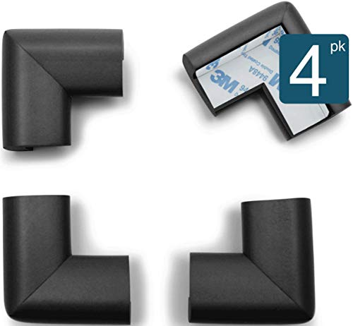 Roving Cove Baby Proofing Corner Guards | Table Corner Protector | Child Safety Furniture Desk Corner Bumper Edge Protector | Baby Caring | Safe Corner Cushion | Pre-Taped | 4-Pc Onyx (Black)