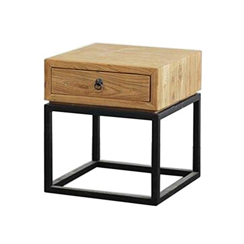 JCNFA BIJZETTAFEL Mid-Century Side Table 1-lade, Nachtkastje, Wood, Pine/Zwart (Color : Wood, Size : 17.71 * 18.89 * 19.68in)