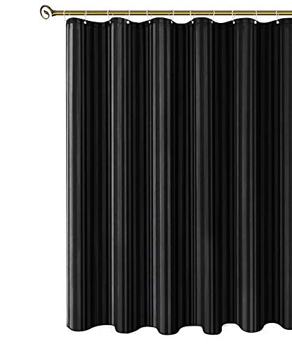Biscaynebay Fabric Shower Curtain, Water Repellent Damask Stripes Bathroom Curtains, Black 72 by 72 Inches with 12 Hooks