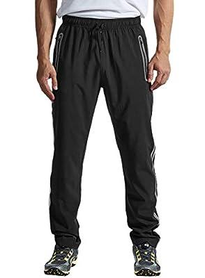 TBMPOY Men's Outdoor Hiking Pants Quick Dry Lightweight Mountain Running Active Jogger Pants Zipper Pockets Black XXL