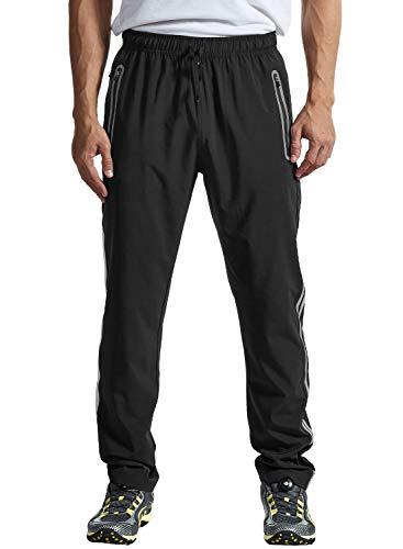 TBMPOY Men's Outdoor Hiking Pants Quick Dry Lightweight Mountain Running Active Jogger Pants Zipper Pockets Black L