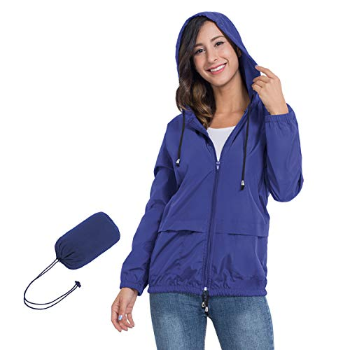 JTANIB Women's Lightweight Packable Waterproof Hooded Rain Jacket S-XXL Sapphire