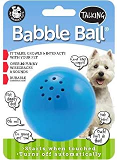 Pet Qwerks Talking Babble Ball Interactive Pet Toy - Wisecracks & Makes Funny Sounds, Electronic Ball that Talks & Makes Noises - Avoids Boredom & Keeps Your Dog Active