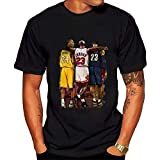 Playera de Manga Corta para Hombre NBA Lebron James Kobe Bryant Michael Jordan tee para Mujer Hiphop Camisas Negro Negro (S