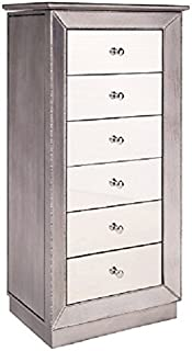 Hives and Honey Mirrored Jewelry Armoire, Metallic Silver