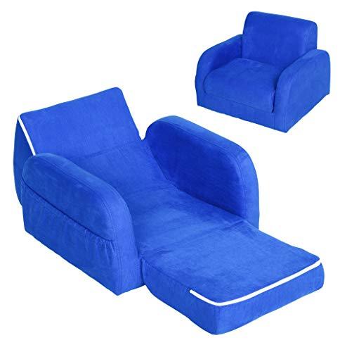 HOMCOM Sillón para Niños Sofá Transformable Diseño 2 en 1 Cama Infantil Plegable de 2 Posiciones con Reposabrazos Asiento Ancho Acolchado 51x45x38 cm Azul