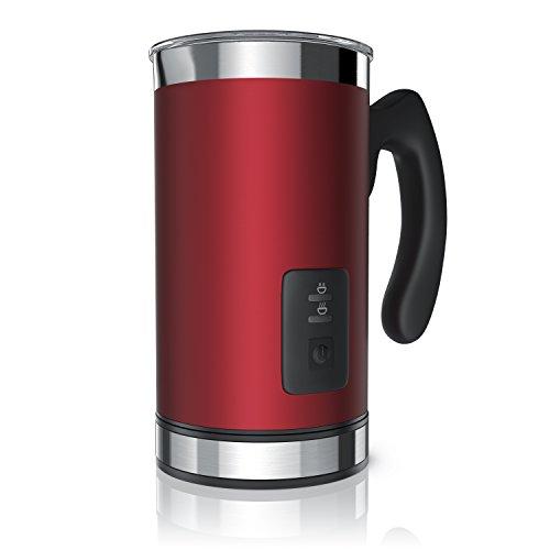 Arendo Milk Frother Montalatte elettrico - Schiumatore latte caldo e freddo - 2 Frullini - Spegnimento automatico - Antiaderente - alto 20cm - Rosso