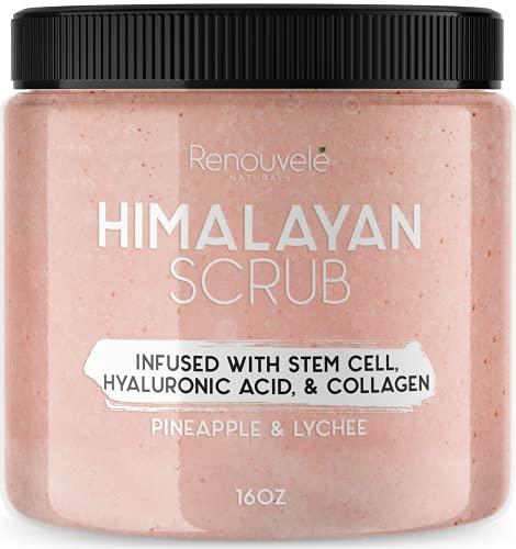 Renouvelé Himalayan Salt Scrub |16oz Pure Lychee & Pineapple | With...