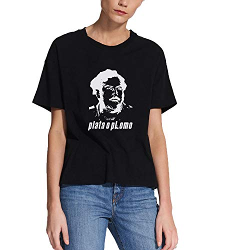 Narcos Escobar Plata O Plomo_MRZ1850 Camiseta 100% Algodón para Mujer, Camiseta de Verano, Regalo, Mujer, Camisa Casual - negro - Small