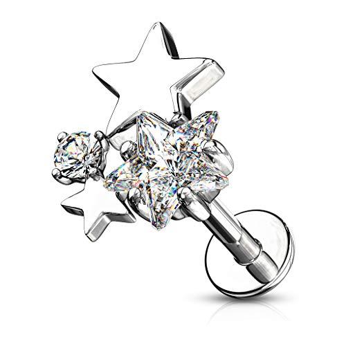 BlackAmazement Piercing per Trago Helix Labret Monroe Stud Orecchio Stella Star con zirconi CZ Rosa Oro Argento Trasparente Donna e Acciaio Inossidabile, cod. -