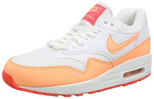 Nike Air Max 1 Essential, Damen Laufschuhe, Weiß (White/Sunset Glow-Hot Lava 114), 37.5 EU