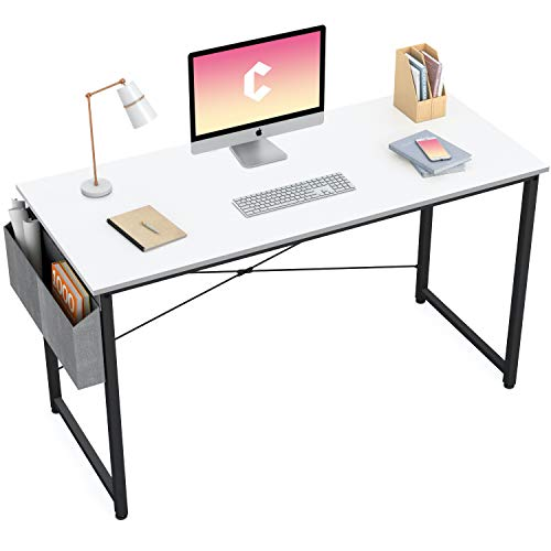 Cubiker Computer Desk 47 inch Home Office Writing Study Desk, Modern Simple Style Laptop Table with Storage Bag, White