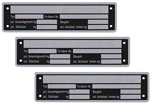 3 x Blanko Typenschild Anhängertypenschild Neutral Anhänger Vers. 2